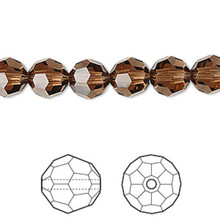 12 Swarovski Faceted Round Crystal Beads ~ 8mm ~ Smoked Topaz~ 5000