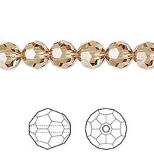 12 Swarovski Faceted Round Crystal Beads ~ 8mm ~ Lt Colorado Topaz~ 5000