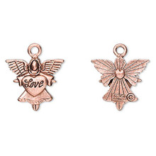 2 Antiqued Copper Plated Pewter Angel with LOVE Heart Charms ~ 21x20mm *