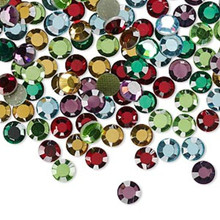 144 Hot Fix Flatback Round Crystals ~ 3.9-4mm ~ SS16 ~ Assorted Colors *