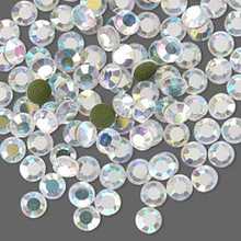 144 Hot Fix Flatback Round Crystals~ 3.9-4mm ~ SS16 ~ Aurora Borealis Clear *