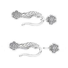 1 Sterling Silver Flower & Leaf Hook & Eye Clasp ~  29x9mm *
