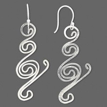1 Pair Sterling Silver Wire Work Swirl Earrings ~ 45x19mm *