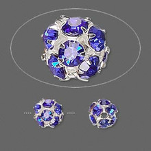 10 Silver Plated Brass Blue Rhinestone Crystal Beads ~  8mm *