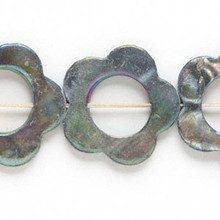 1 Strand Mother of Pearl Grey AB Flower Donut Beads ~ MOP ~ 25x24mm *