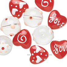 10 Hand Painted Glass Beads ~ Red & Clear Round & Hearts Love