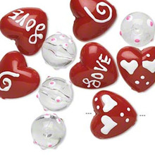 10 Hand Painted Glass Beads ~ Large Red & White Hearts Love