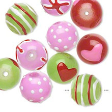 10 Hand Painted Glass Beads ~ Red Green Pink & White ~ 12mm