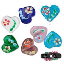 10 Lampwork Glass Multi Color Flower Dot Heart Beads ~14x16mm *