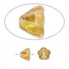 1 Strand Czech Glass Cone Bell Flower Beads ~ Topaz ~ 8.5x6.5mm *