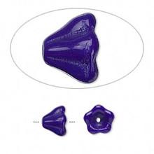 1 Strand Czech Glass Cone Bell Flower Beads ~ Opaque Dark Blue ~ 8.5x6.5mm