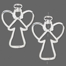 2 Silver Plated Pewter Angel Frame Bead Holders  ~ 34.5x25.5mm