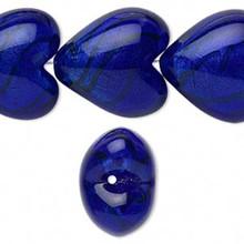 4 Lampwork Glass Cobalt Blue 3D Puffy Heart Beads ~ 28x28mm