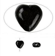 1 Strand Czech Pressed Glass 6mm Heart Beads ~ Opaque Black