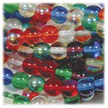 50 Czech Pressed Glass Druk 8mm Round Beads ~ Rainbow AB MIX