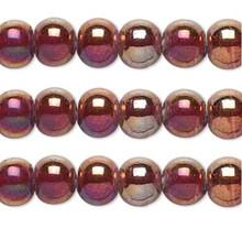 1 Strand Iridescent Rainbow Red Bronze Glass Round Beads ~  9-12mm *