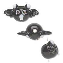 4 Lampwork Glass Opaque Black Bats Halloween  Beads ~ 26x13mm