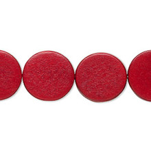1 Strand Wood 15mm Flat Round Coin Beads ~ Cranberry Red