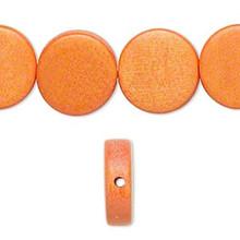 1 Strand Wood 15mm Flat Round Coin Beads ~ Orange