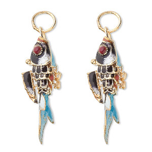 2 Gold Plated Black Moving Fish Cloisonne Charm Pendants  ~ 38x19mm  *
