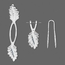 10 Silver Plated Brass Fold Over & Glue on Y Leaf Pendant Bails ~ 20mm Grip Length