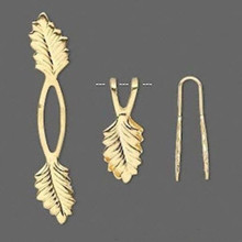 10 Gold Plated Brass Fold Over & Glue on Y Leaf Pendant Bails ~ 20mm Grip Length