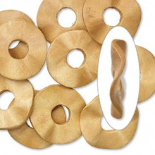 10 Light Brown Hand-Cut Wavy Round Wood Donut Disc Pendants ~ 33mm *