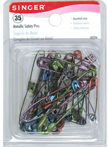 35 Singer Bright Colored Metallic Safety Pin Mix ~ Sizes 1 to 3