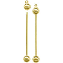 "1 Gold Plated Brass Changeable Bead Pin Pendants ~ 2"" Long ~ Just Add Beads"