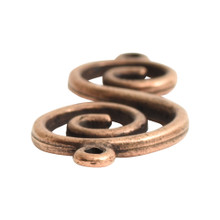 2 Antiqued Copper Plated Pewter S Shape Swirl Link Connectors ~ 32.9 x 14.4 x 2.1mm