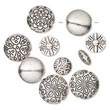 10 Antiqued Silver Plated Pewter Puffed Round Coin Bead MIX ~ 12-19mm