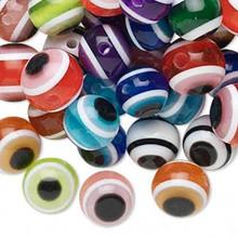 100 Laminated Acrylic Evil Eye Design Round Beads ~ 10mm *
