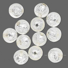 12 Glistening Clear with Silver Foil Round Resin Beads ~ 16mm *