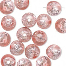 16 Glistening Pink Foil Round Resin Beads ~ 10mm *