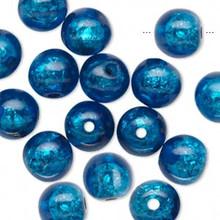 16 Glistening Cobalt Blue Foil Round Resin Beads ~ 10mm *