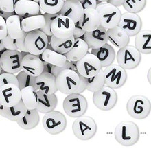 200 White Acrylic 2 Sided Alphabet Coin Beads ~ 7mm