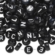 200 Black Acrylic 2 Sided Alphabet Coin Beads ~ 7mm