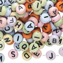 200 Opaque Mix Acrylic 2 Sided Alphabet Coin Beads ~ 7mm
