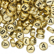 200 Gold Acrylic 2 Sided Alphabet Coin Beads ~ 7mm