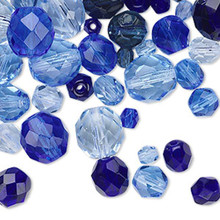 100 Czech Fire Polished Glass Faceted Round Beads ~  Blue Mix