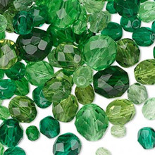 100 Czech Fire Polished Glass Faceted Round Beads ~  Green Mix