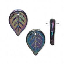 20 Czech Pressed Glass Iris Purple Leaf Beads ~ 18x14mm Leaves