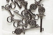 15 Gunmetal Plated Pewter Double Sided Assorted Key Charm Mix  *