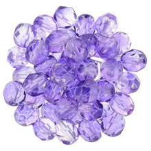 50 Czech Fire Polished Round Glass Beads ~ Blue Violet ~ 6mm