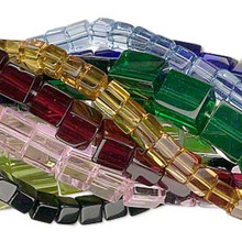 10 Strands Pressed Glass 4mm, 6mm & 8mm Square Cube Bead Mix
