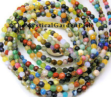 1 Strand Mixed Faceted 4mm Round Gemstone Beads
