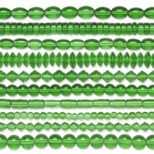"Ten 16"" Strands of Assorted Shaped Transparent Green Glass Beads  ~ 5mm-11x8mm"