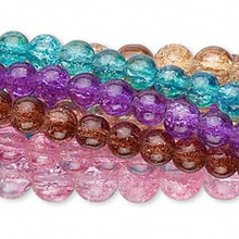Ten 30 Inch Strands Crackle Glass 6-8mm Round Beads ~ Color MIX