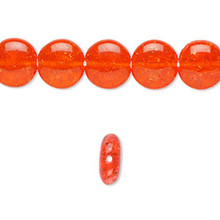 1 Strand Orange Crackle Glass 10mm Flat Round Beads *