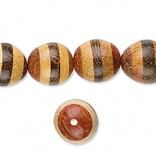 1 Strand Yellow & Brown Stripe Madre Cacao,Nangka, Roble Wood 13x11mm Oval Beads